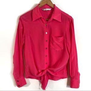 Trina Turk Pink Silk Tie Waist Blouse